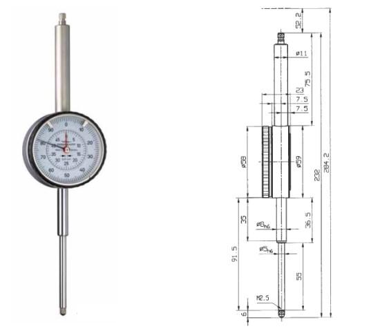 Abbildung: Messuhr M2-50T 0 - 50 mm (Das Bild kann vom Original geringfügig abweichen.)