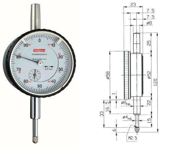 Abbildung: Messuhr M2SN 0 - 10 mm (Das Bild kann vom Original geringfügig abweichen.)