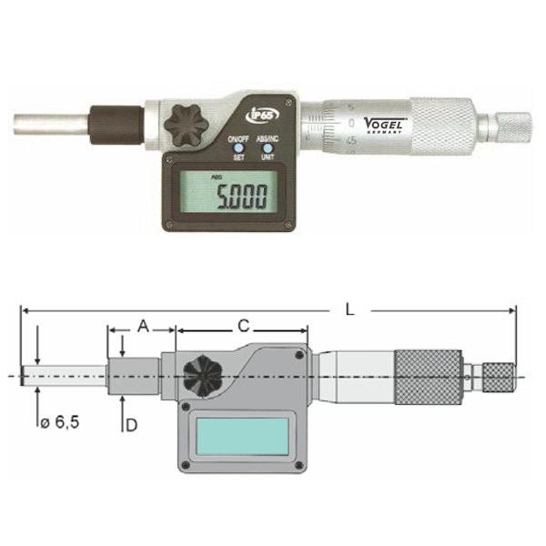 Abbildung: Digitale Einbaumessschraube IP65 0 - 25 mm (Das Bild kann vom Original geringfügig abweichen.)