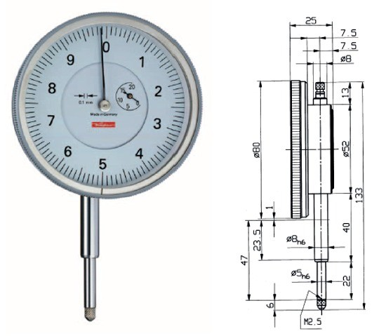 Abbildung: Messuhr GM10-80 0 - 20 mm (Das Bild kann vom Original geringfügig abweichen.)