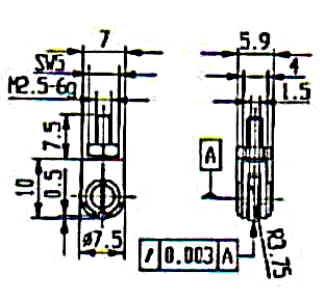 Abbildung: Messeinsatz Stahl mit Rolle Ø 7,5 mm (Das Bild kann vom Original geringfügig abweichen.)