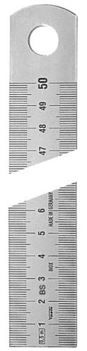 Abbildung: Rostfreier Stahlmaßstab, gem. BS, Lasergravur 500 x 30 x 2.0 mm (Das Bild kann vom Original geringfügig abweichen.)