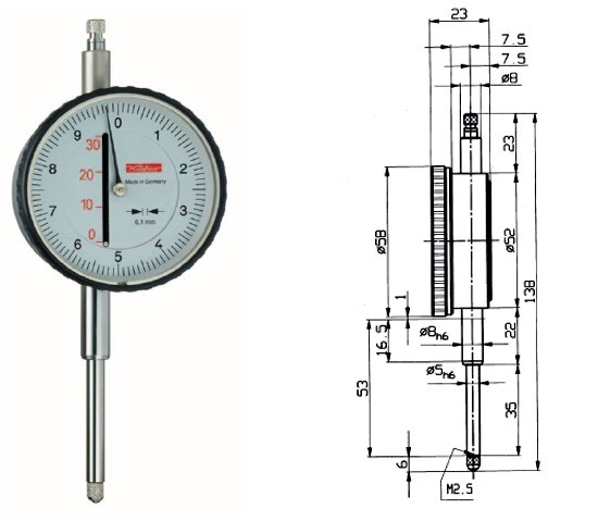 Abbildung: Messuhr M10c 0 - 30 mm (Das Bild kann vom Original geringfügig abweichen.)