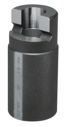 Abbildung: Kegellehre für Morsekegel Hülse mit Lappen DIN 230 MK 1 (Das Bild kann vom Original geringfügig abweichen.)