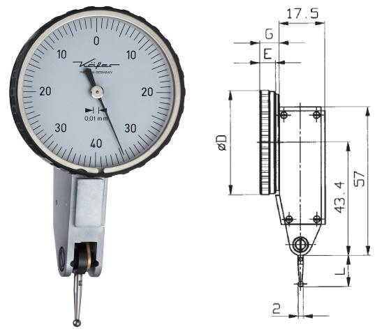 Abbildung: Fühlhebelmessgerät K 40 0 - 0,8 mm (Das Bild kann vom Original geringfügig abweichen.)