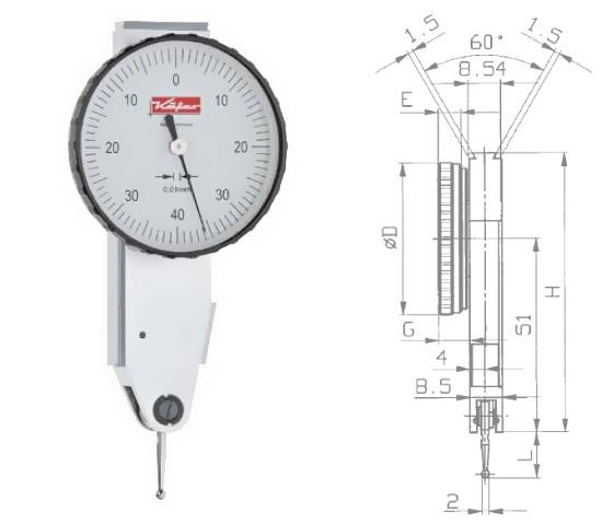 Abbildung: Fühlhebelmessgerät K 41 0 - 0,8 mm (Das Bild kann vom Original geringfügig abweichen.)