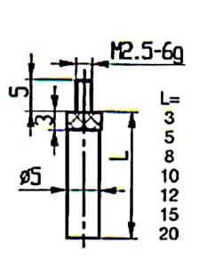 Abbildung: Messeinsatz Stahl 8 mm lang (Das Bild kann vom Original geringfügig abweichen.)