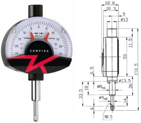 Abbildung: Feinzeiger Compika 101 0 - 0,5 mm (Das Bild kann vom Original geringfügig abweichen.)