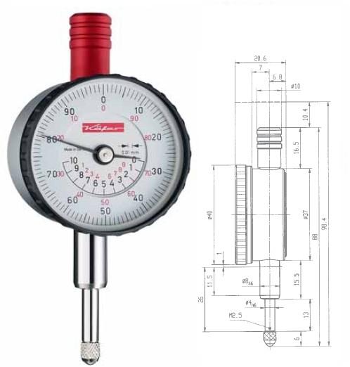 Abbildung: Kleinmessuhr KM4/10TK - 100 konzentrische Anzeige 0 - 10 mm (Das Bild kann vom Original geringfügig abweichen.)
