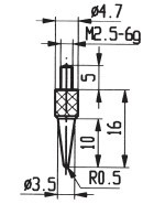 Abbildung: Messeinsatz Stahl 3,5 mm Ø (Das Bild kann vom Original geringfügig abweichen.)