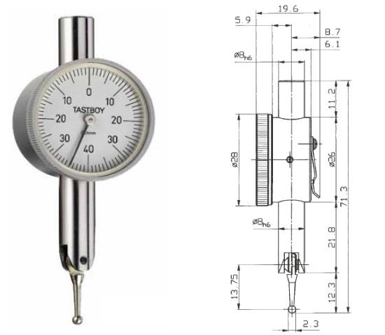 Abbildung: Fühlhebelmessgerät Tastboy 0 - 0,8 mm (Das Bild kann vom Original geringfügig abweichen.)
