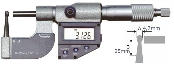 Abbildung: Digitale Rohrwand- Messschraube, IP54 0 - 25 mm (Das Bild kann vom Original geringfügig abweichen.)