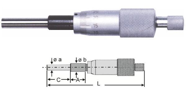 Abbildung: Standard Einbaumessschraube 0 - 25 mm (Das Bild kann vom Original geringfügig abweichen.)