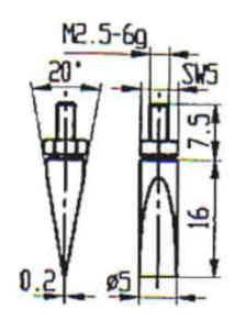 Abbildung: Messeinsatz Stahl 5 mm Ø (Das Bild kann vom Original geringfügig abweichen.)