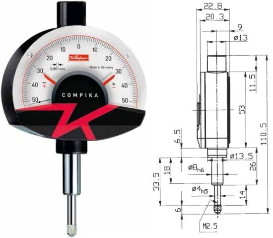 Abbildung: Feinzeiger Compika 1001 0 - 0,1 mm (Das Bild kann vom Original geringfügig abweichen.)
