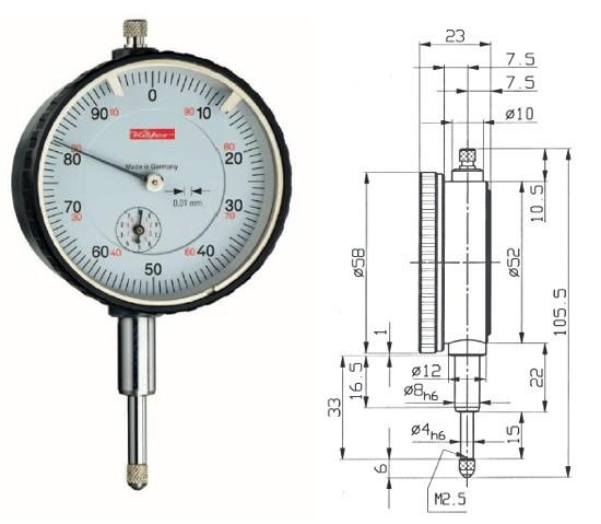 Abbildung: Messuhr M2XS 0 - 10 mm (Das Bild kann vom Original geringfügig abweichen.)