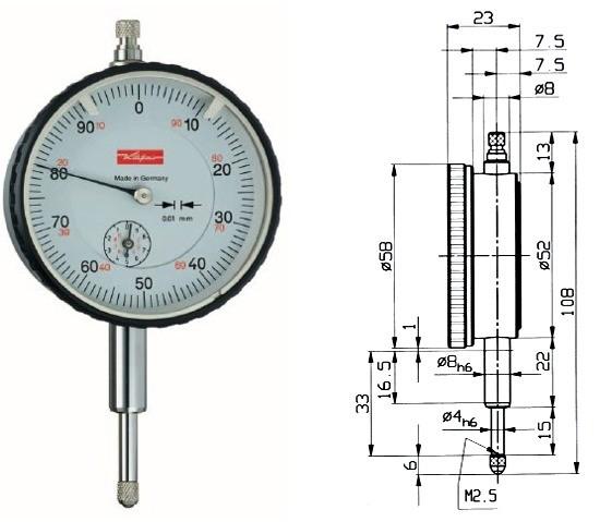 Abbildung: Messuhr M2T 0 - 10 mm (Das Bild kann vom Original geringfügig abweichen.)