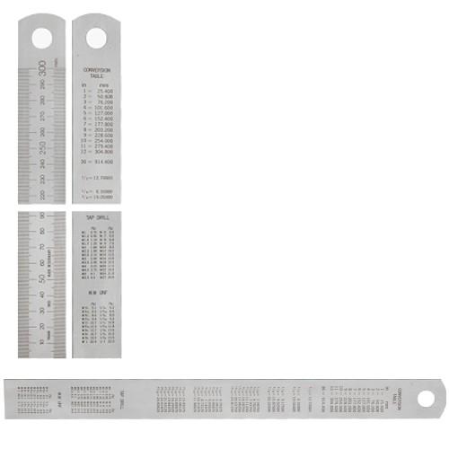 Abbildung: Stahlmaßstab mit Umrechnungstabelle 30 x 1,0 mm, 2000 mm (80 inch) (Das Bild kann vom Original geringfügig abweichen.)
