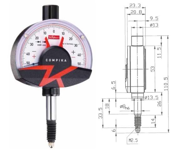 Abbildung: Feinzeiger Compika 1001wa 0 - 0,1 mm (Das Bild kann vom Original geringfügig abweichen.)