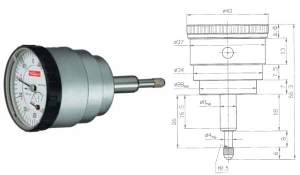 Abbildung: Sicherheitsmessuhr SI-45 R rückwärtiger Messbolzen 0 - 0,4 mm (Das Bild kann vom Original geringfügig abweichen.)