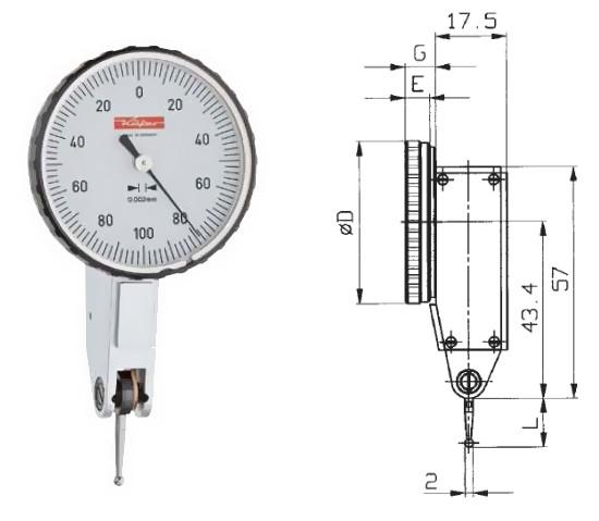 Abbildung: Fühlhebelmessgerät K 46 0 - 0,2 mm (Das Bild kann vom Original geringfügig abweichen.)