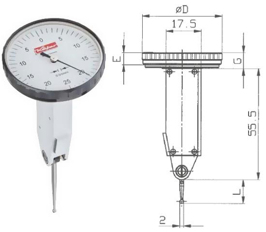 Abbildung: Fühlhebelmessgerät K 45 0 - 0,5 mm (Das Bild kann vom Original geringfügig abweichen.)