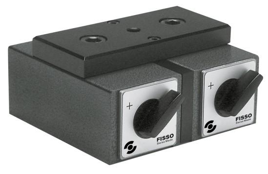 Abbildung: Fisso Doppel-Schaltmagnetfuß DMM 120 x 130 x 55 mm (Das Bild kann vom Original geringfügig abweichen.)