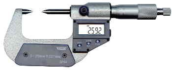 Abbildung: Digitale Messschraube mit spitzen Messflächen 0 - 25 mm (Das Bild kann vom Original geringfügig abweichen.)