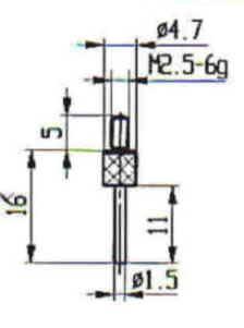 Abbildung: Messeinsatz Stahl 1,5 mm Ø (Das Bild kann vom Original geringfügig abweichen.)