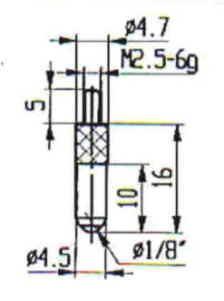 Abbildung: Messeinsatz Stahl 4,5 mm Ø (Das Bild kann vom Original geringfügig abweichen.)