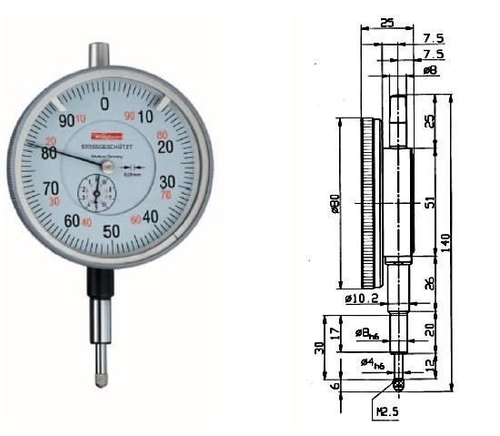 Abbildung: Messuhr GM 80S 0 - 10 mm, GM80S (Das Bild kann vom Original geringfügig abweichen.)
