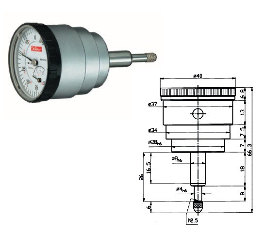 Abbildung: Kleinmessuhr KM4-5R 0 - 5 mm (Das Bild kann vom Original geringfügig abweichen.)
