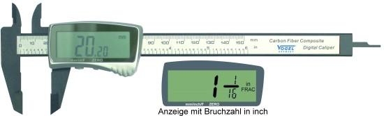 Abbildung: Elektronischer Digital Messschieber aus Karbon-Fiberglas 0 - 150 mm (0 - 6 inch) (Das Bild kann vom Original geringfügig abweichen.)