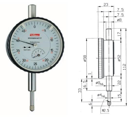 Abbildung: Messuhr M3S 0 - 5 mm (Das Bild kann vom Original geringfügig abweichen.)