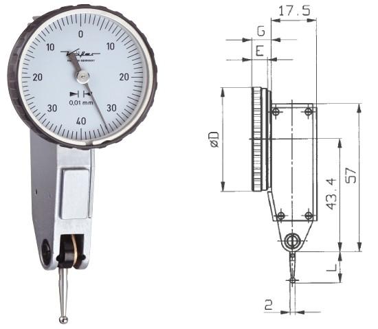 Abbildung: Fühlhebelmessgerät K 30 0 - 0,8 mm (Das Bild kann vom Original geringfügig abweichen.)