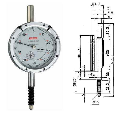 Abbildung: Präzisionsmessuhr M 2 SW 0 - 10 mm (Das Bild kann vom Original geringfügig abweichen.)