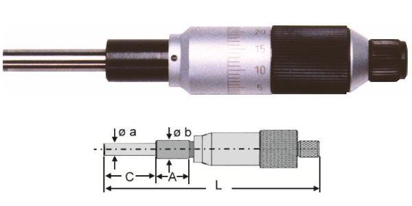 Abbildung: Standard Einbaumessschraube parallaxfrei 0 - 25 mm (Das Bild kann vom Original geringfügig abweichen.)