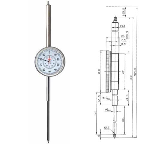 Abbildung: Messuhr GM80-100T 0 - 100 mm (Das Bild kann vom Original geringfügig abweichen.)