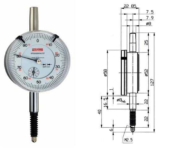 Abbildung: Präzisionsmessuhr M 2 S wa 0 - 10 mm (Das Bild kann vom Original geringfügig abweichen.)