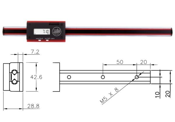 Abbildung: Digitales Längenmesssystem Längenmessgerät horizontal kugelgelagert 0 - 200 mm (Das Bild kann vom Original geringfügig abweichen.)