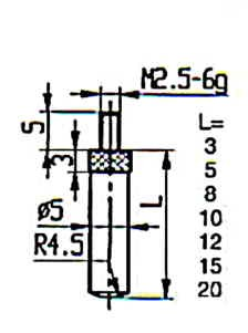 Abbildung: Messeinsatz Stahl 3 mm lang (Das Bild kann vom Original geringfügig abweichen.)