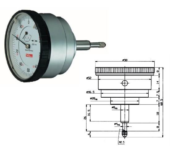 Abbildung: Messuhr M2R 0 - 3 mm (Das Bild kann vom Original geringfügig abweichen.)