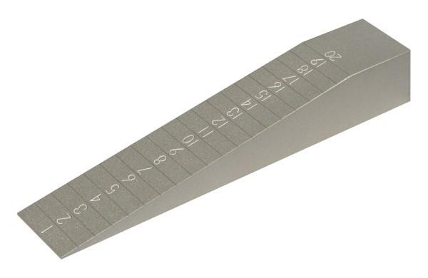 Abbildung: Messkeil aus Aluminium (Das Bild kann vom Original geringfügig abweichen.)