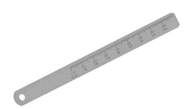 Abbildung: Messkeil aus Stahl blank 0,1 - 1,0 mm (Das Bild kann vom Original geringfügig abweichen.)