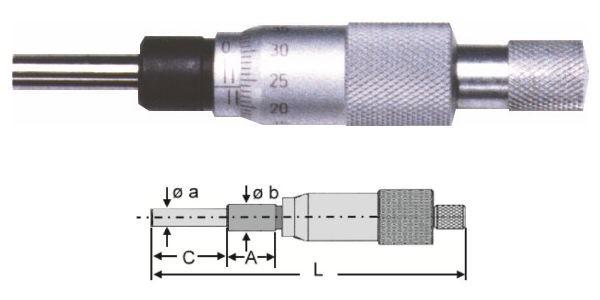Abbildung: Kleine Einbaumessschraube 0 - 13 mm (Das Bild kann vom Original geringfügig abweichen.)