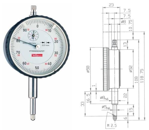 Abbildung: Messuhr M2/10S verstärkter Messbolzen 0 - 10 mm (Das Bild kann vom Original geringfügig abweichen.)