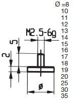 Abbildung: Messeinsatz Stahl 8 mm Ø 8 mm Ø (Das Bild kann vom Original geringfügig abweichen.)