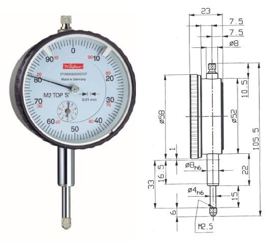 Abbildung: Messuhr M2TopS 0 - 10 mm (Das Bild kann vom Original geringfügig abweichen.)