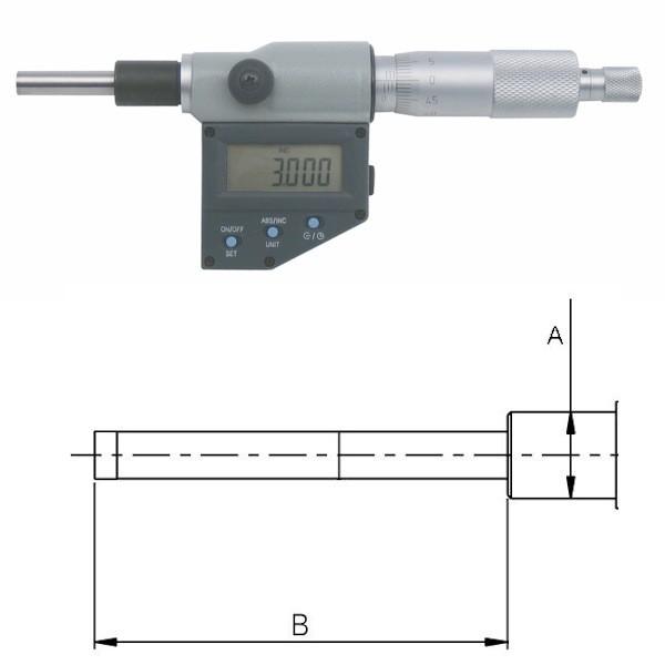 Abbildung: Digitale Einbaumessschraube 0 - 25 mm (Das Bild kann vom Original geringfügig abweichen.)