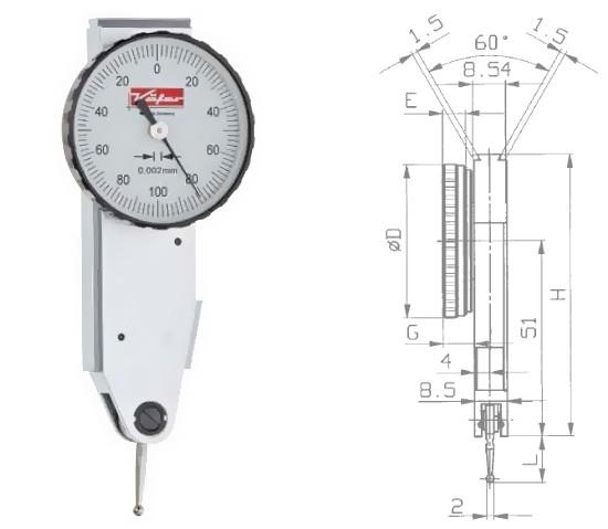 Abbildung: Fühlhebelmessgerät K 37 0 - 0,2 mm (Das Bild kann vom Original geringfügig abweichen.)